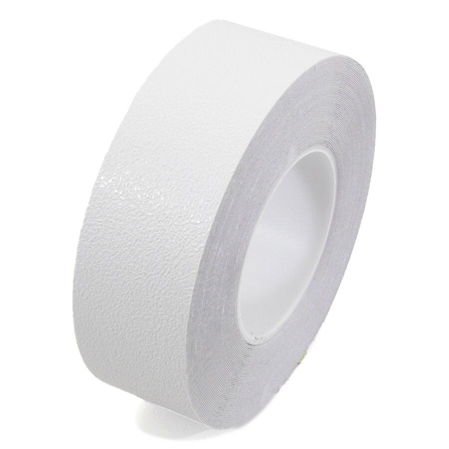Bílá plastová voděodolná protiskluzová páska FLOMA Aqua-Safe - 18,3 x 5 cm tloušťka 0,7 mm