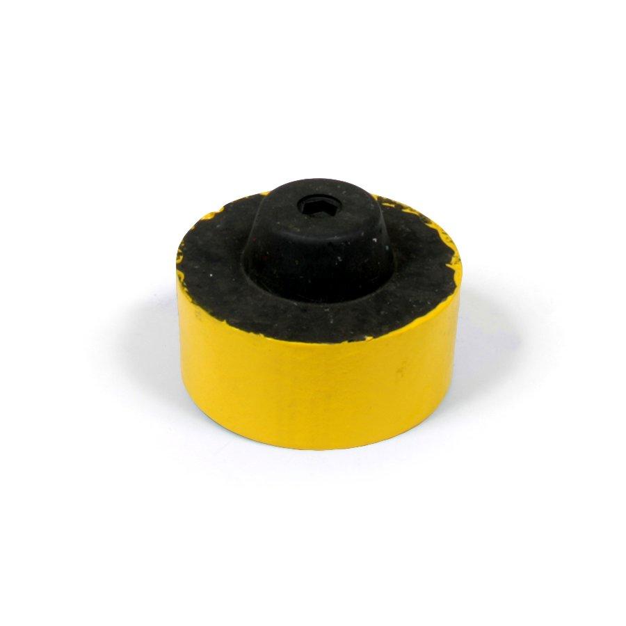 """Žlutá plastová koncovka """"samec"""" pro silniční obrubníky - délka 14,5 cm, šířka 14,5 cm a výška 6 cm"""