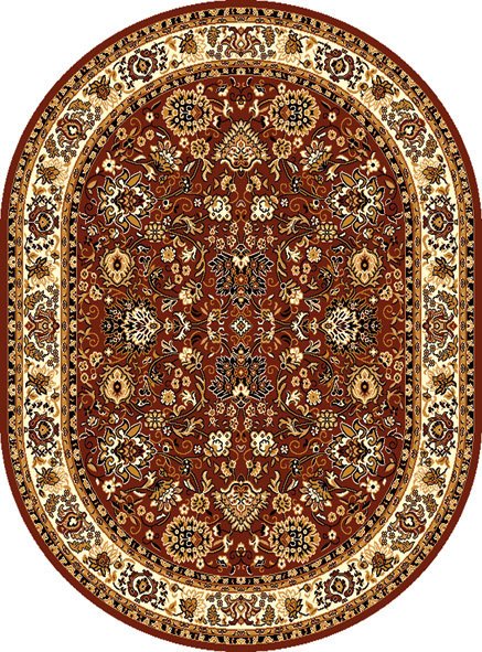 Hnědý kusový orientální oválný koberec