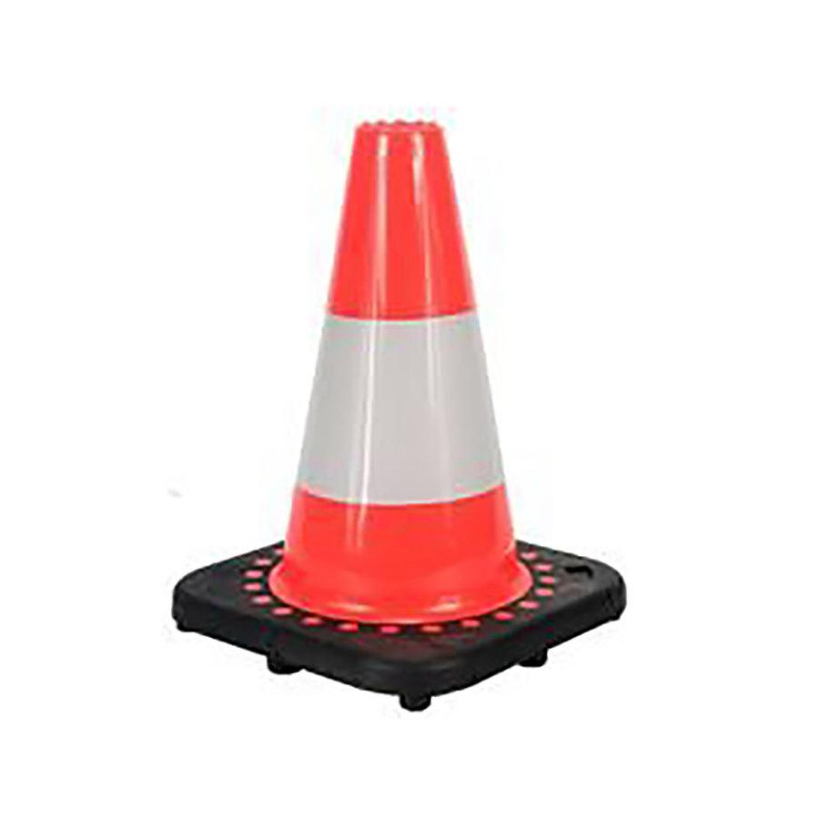 Plastový (PVC) reflexní dopravní kužel s gumovým podstavcem - šířka 38 cm a výška 75 cm