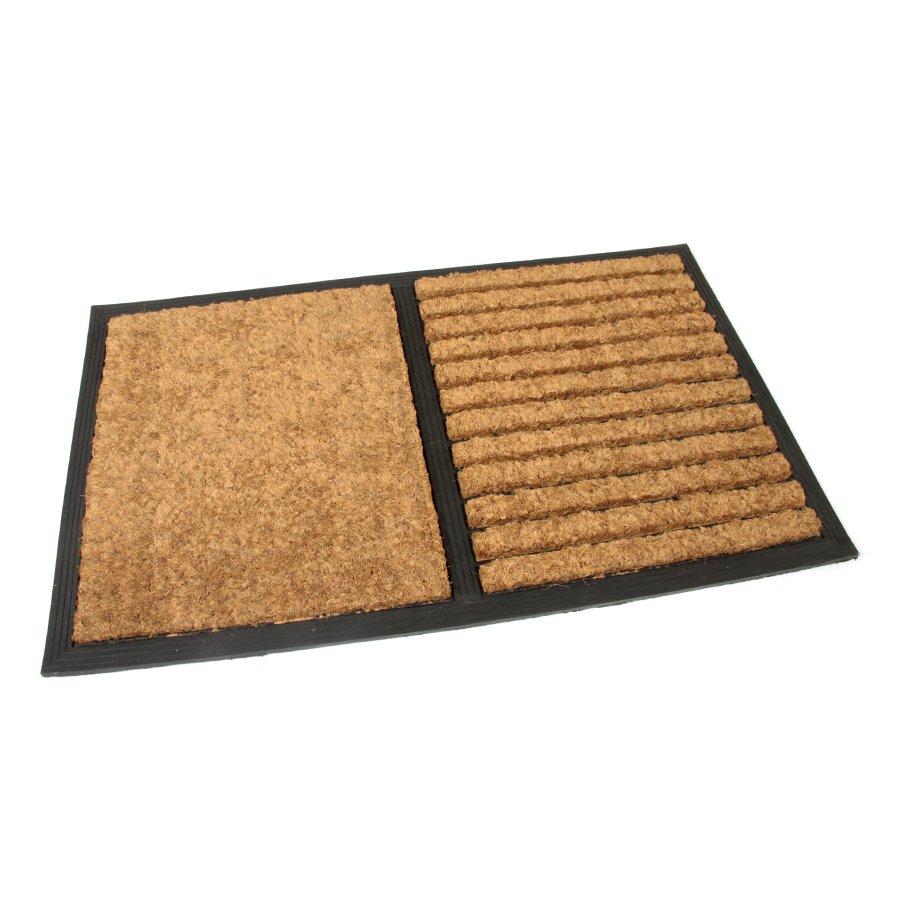 Kokosová čistící venkovní vstupní rohož Stripes - Rectangle, FLOMAT - délka 45 cm, šířka 75 cm a výška 2,3 cm