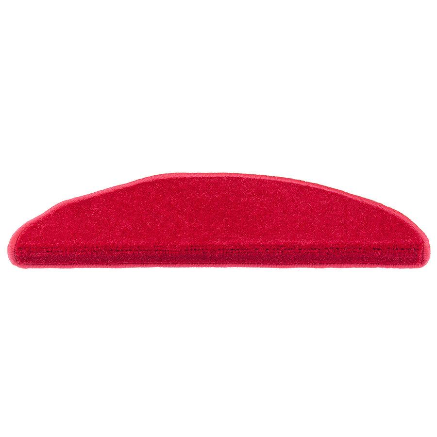 Červený kobercový půlkruhový nášlap na schody Eton - délka 65 cm a šířka 24 cm