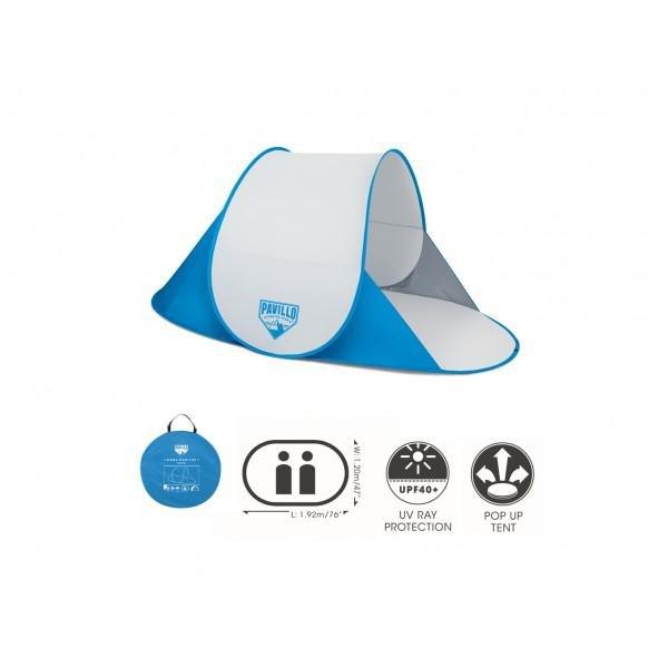 Modro-bílé skládací plážové lehátko se stříškou - délka 192 cm, šířka 120 cm a výška 85 cm