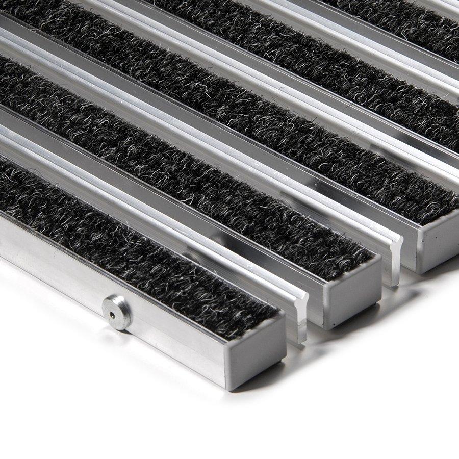 Textilní hliníková kartáčová vnitřní vstupní rohož Alu Extra, FLOMAT - výška 2,2 cm