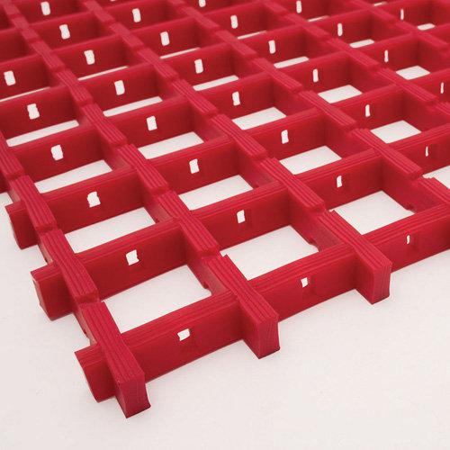 Červená univerzální průmyslová protiskluzová olejivzdorná rohož (mřížka 22 x 22 mm) - délka 10 m, šířka 60 cm a výška 1,2 cm
