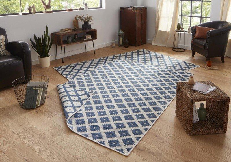 Modrý oboustranný moderní koberec Twin-Wendeteppiche