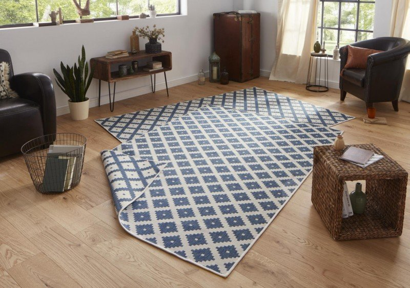 Kusový koberec Twin-Wendeteppiche 103128 blau creme 120x170