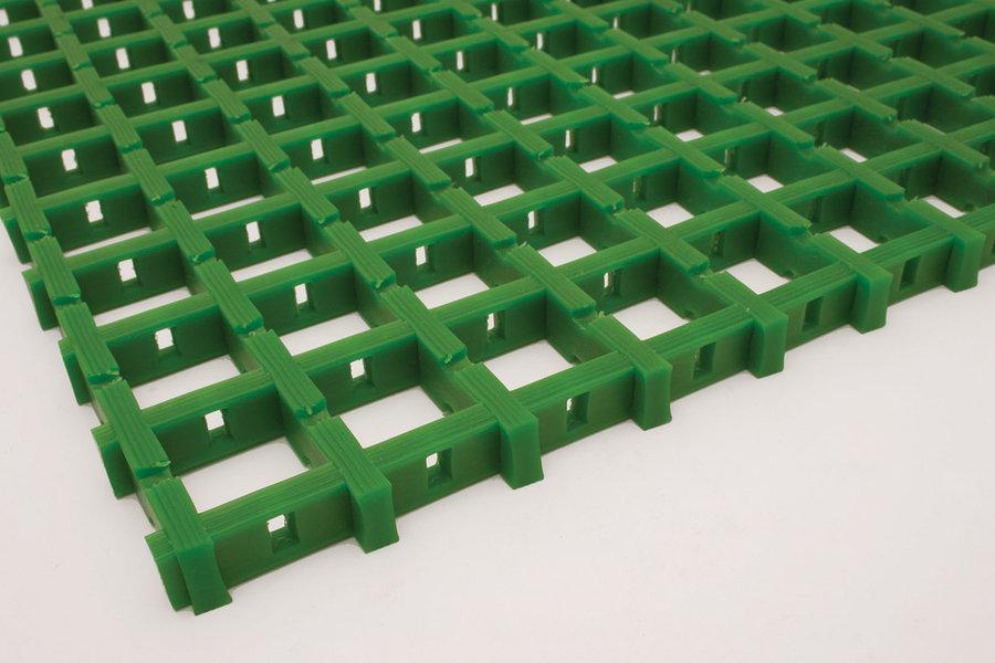 Zelená univerzální průmyslová olejivzdorná rohož (mřížka 30 x 30 mm) - délka 5 m, šířka 120 cm a výška 1,2 cm