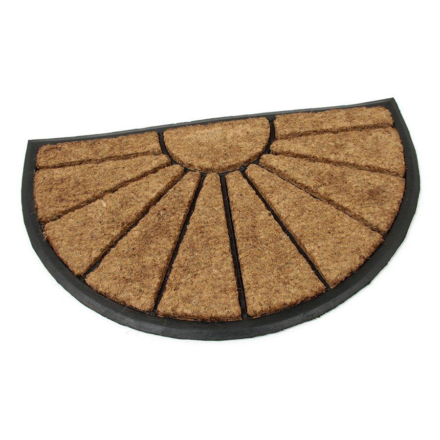Kokosová čistící venkovní vstupní půlkruhová rohož Sun, FLOMAT - délka 45 cm, šířka 75 cm a výška 2,2 cm