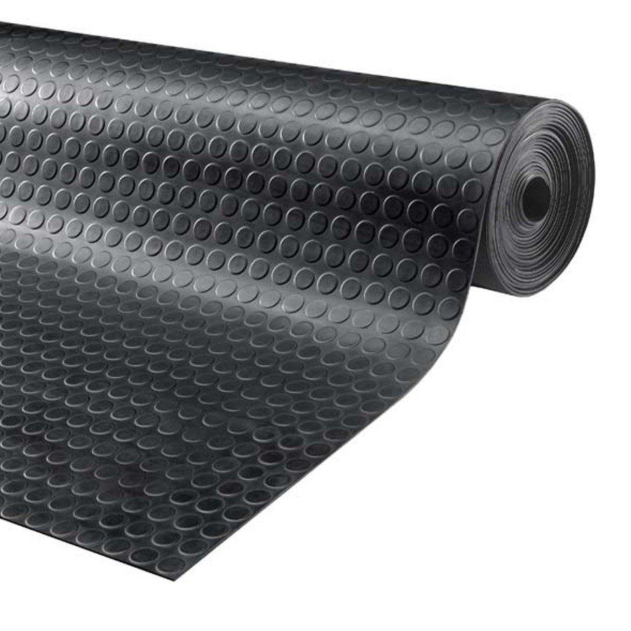 Černá průmyslová protiskluzová podlahová guma Noppa, FLOMA - délka 10 m, šířka 120 cm a výška 0,3 cm