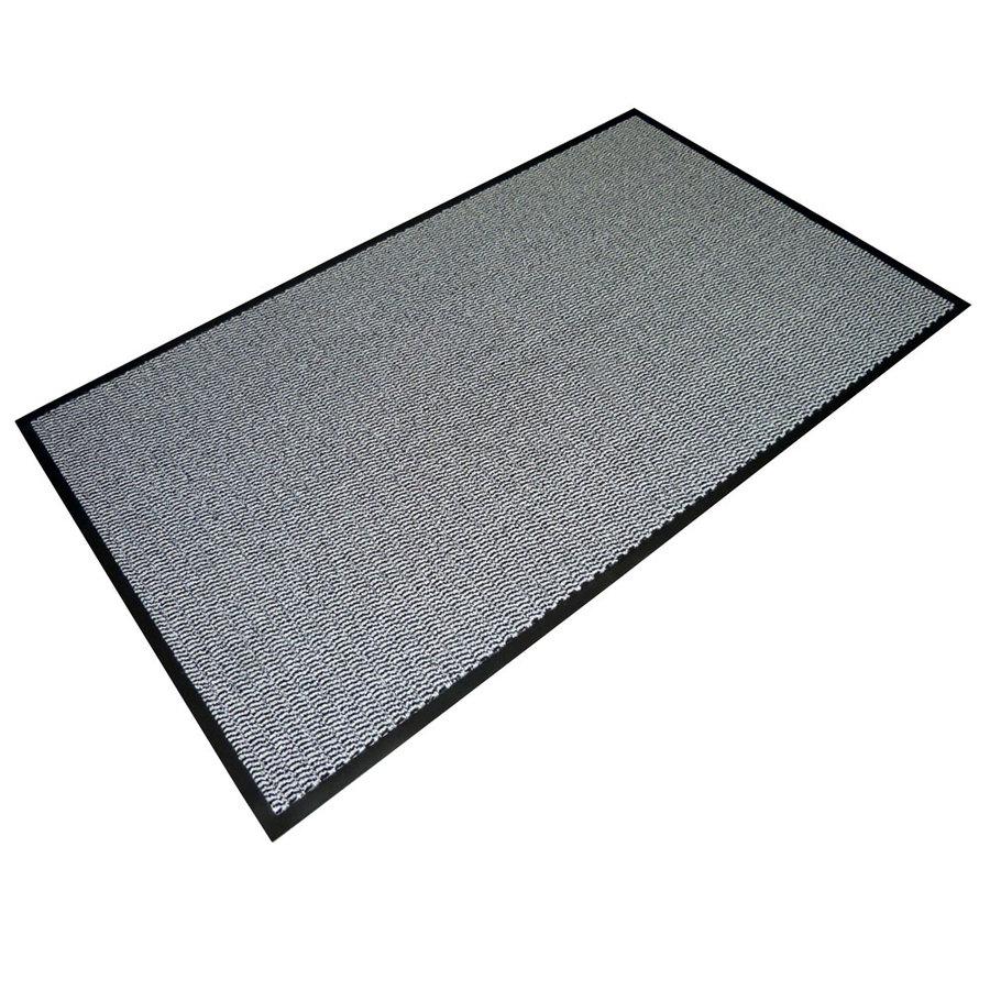 Šedá textilní vstupní vnitřní čistící rohož - délka 90 cm, šířka 150 cm a výška 0,7 cm