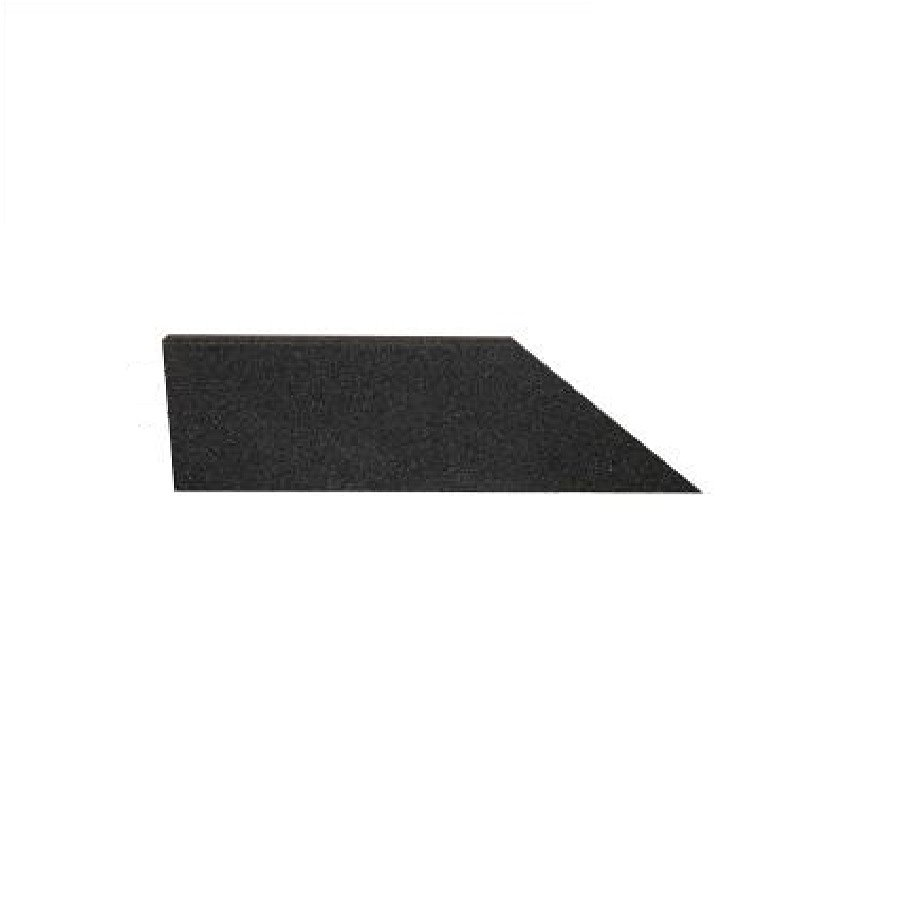 Černý levý nájezd (roh) pro gumové dlaždice - délka 75 cm, šířka 30 cm a výška 2,5 cm