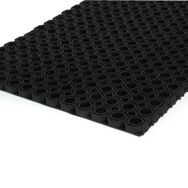 Černá gumová čistící venkovní vstupní rohož Octomat Mini - délka 75 cm, šířka 50 cm a výška 1,4 cm