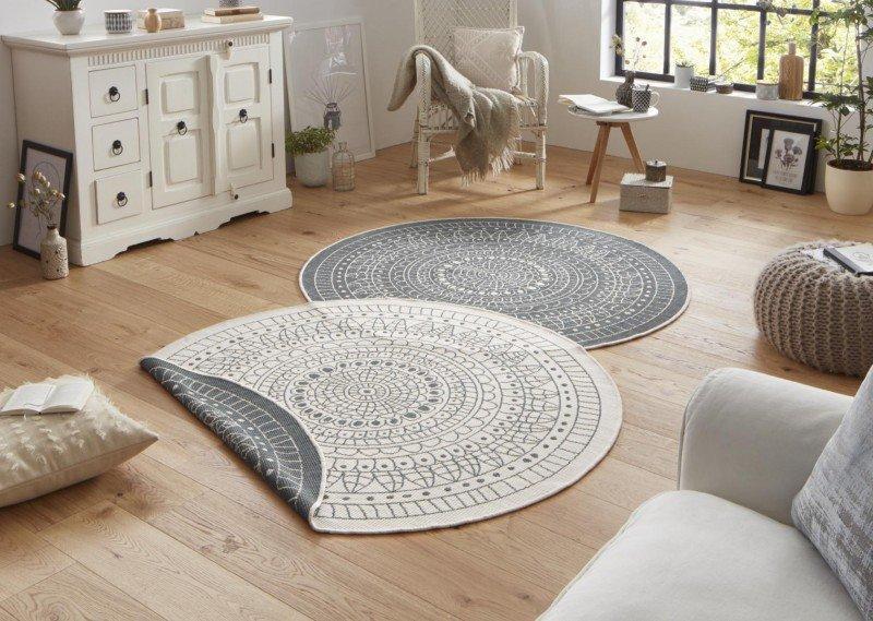 Šedý kusový oboustranný moderní kulatý koberec Twin-Wendeteppiche