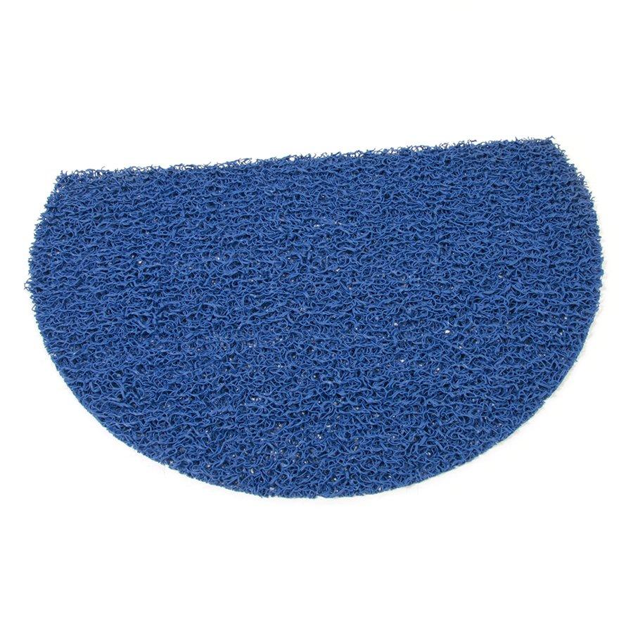 Modrá plastová vinylová protiskluzová sprchová půlkruhová rohož Spaghetti, FLOMAT - délka 59,5 cm, šířka 40 cm a výška 1,2 cm