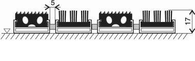 Gumová hliníková kartáčová venkovní vstupní rohož Alu Extra, FLOMA - délka 100 cm, šířka 100 cm a výška 1,7 cm