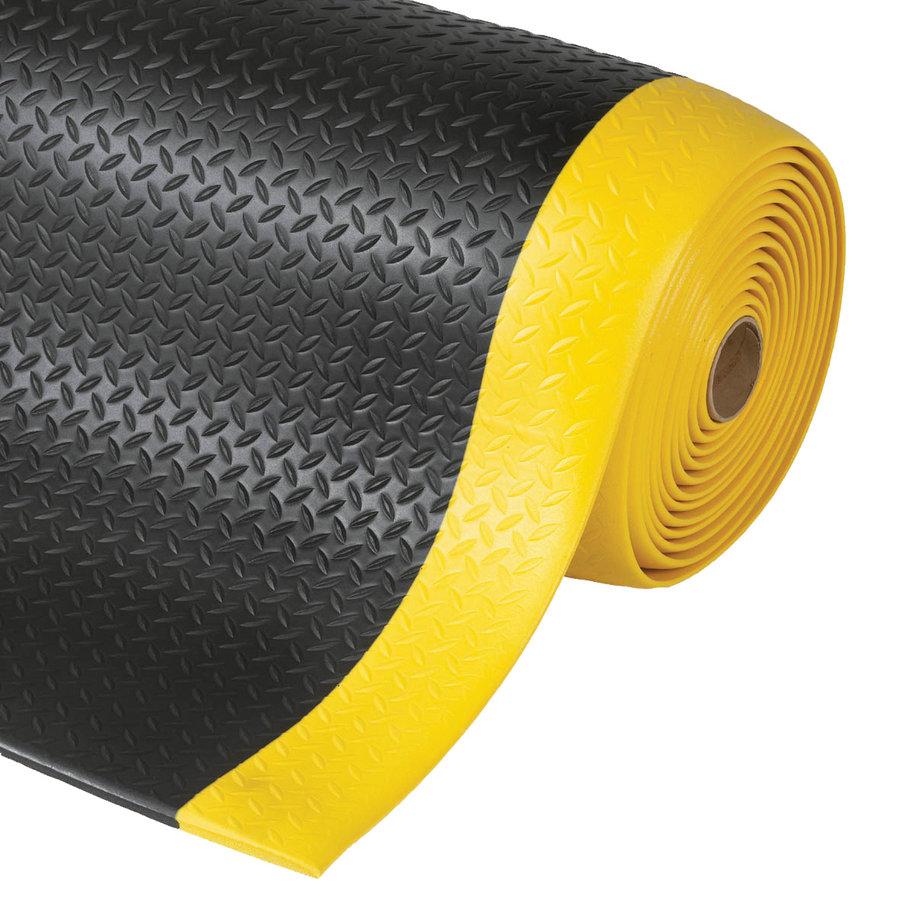 Černo-žlutá protiúnavová průmyslová rohož - délka 18,3 m, šířka 122 cm a výška 1,27 cm