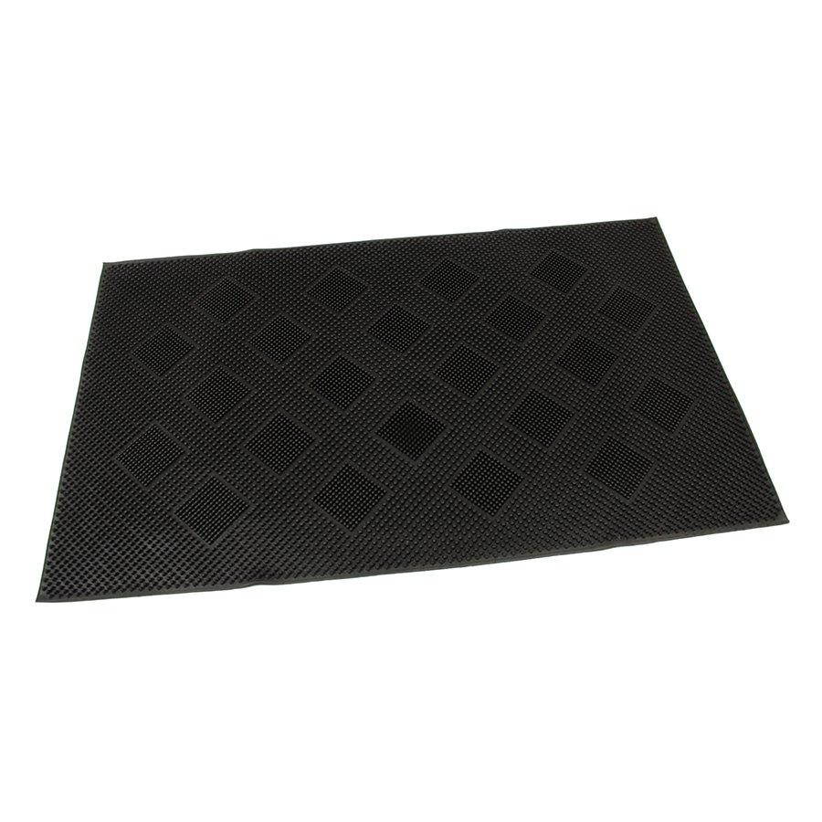 Gumová vstupní venkovní kartáčová čistící rohož Squares, FLOMAT - délka 75 cm, šířka 45 cm a výška 0,7 cm