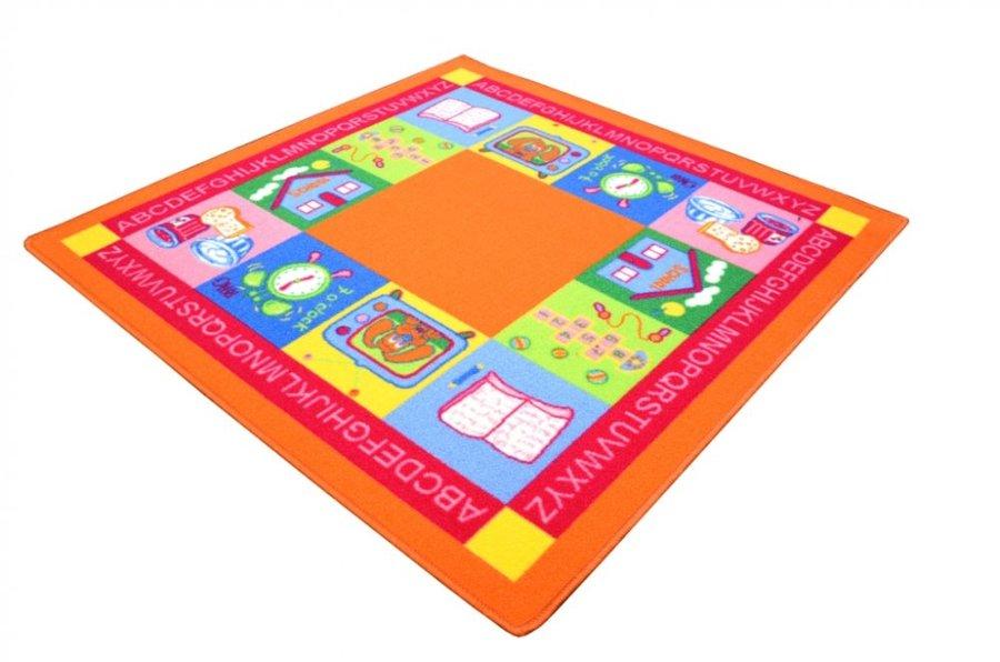 Různobarevný hrací kusový dětský koberec - délka 100 cm a šířka 100 cm