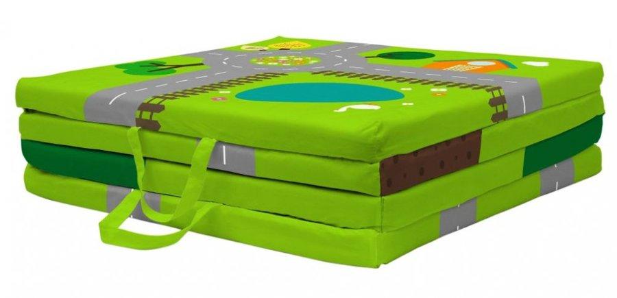 Zelená dětská hrací podložka - délka 100 cm, šířka 100 cm a výška 4 cm