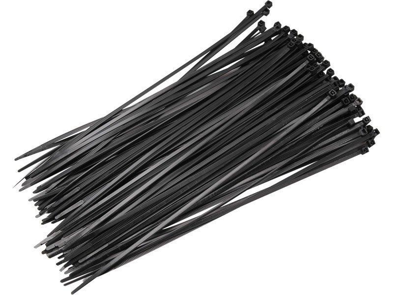 Černá nylonová stahovací páska - délka 20 cm a šířka 0,36 cm - 50 ks