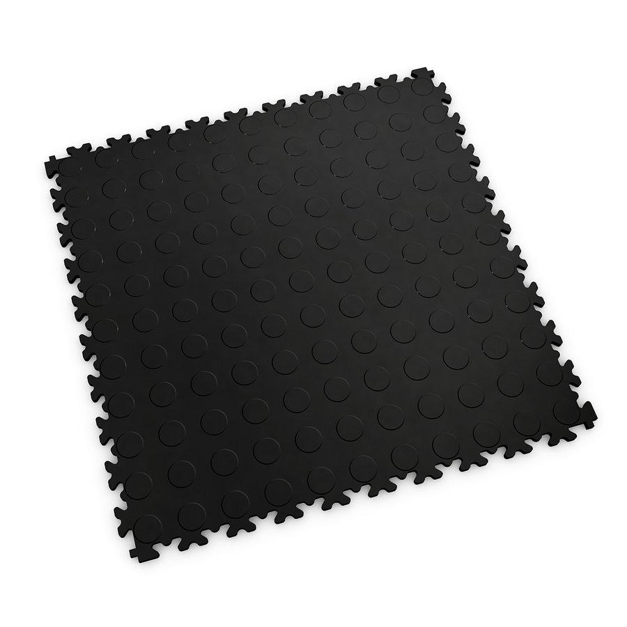 Černá plastová vinylová dlaždice Light 2080 (penízky), Fortelock - délka 51 cm, šířka 51 cm a výška 0,7 cm