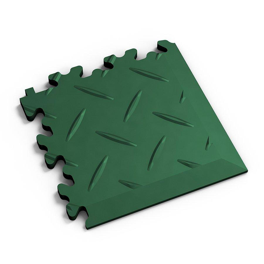 Zelený plastový vinylový rohový nájezd 2016 (diamant), Fortelock - délka 14 cm, šířka 14 cm a výška 0,7 cm