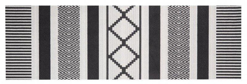Černo-šedá bytová moderní kusová kuchyňská předložka Cook & Clean - délka 140 cm a šířka 45 cm
