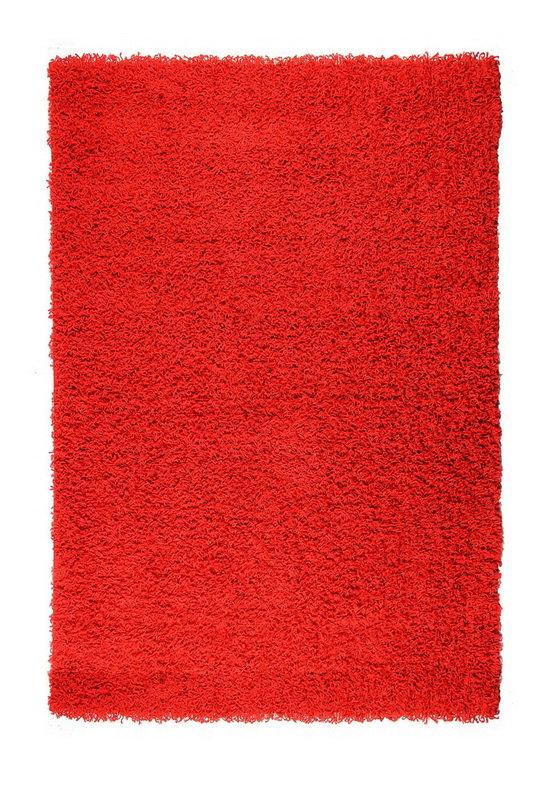 Červený kusový koberec Shaggy s vysokým vlasem - délka 290 cm a šířka 200 cm