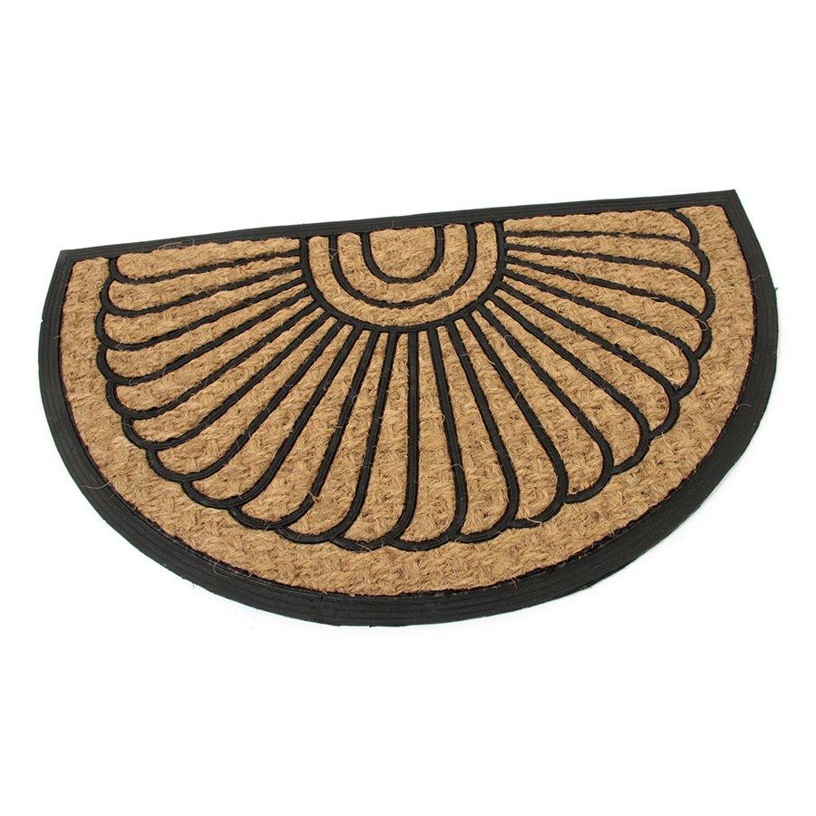 Kokosová čistící venkovní vstupní půlkruhová rohož Flower, FLOMA - délka 45 cm, šířka 75 cm a výška 0,8 cm
