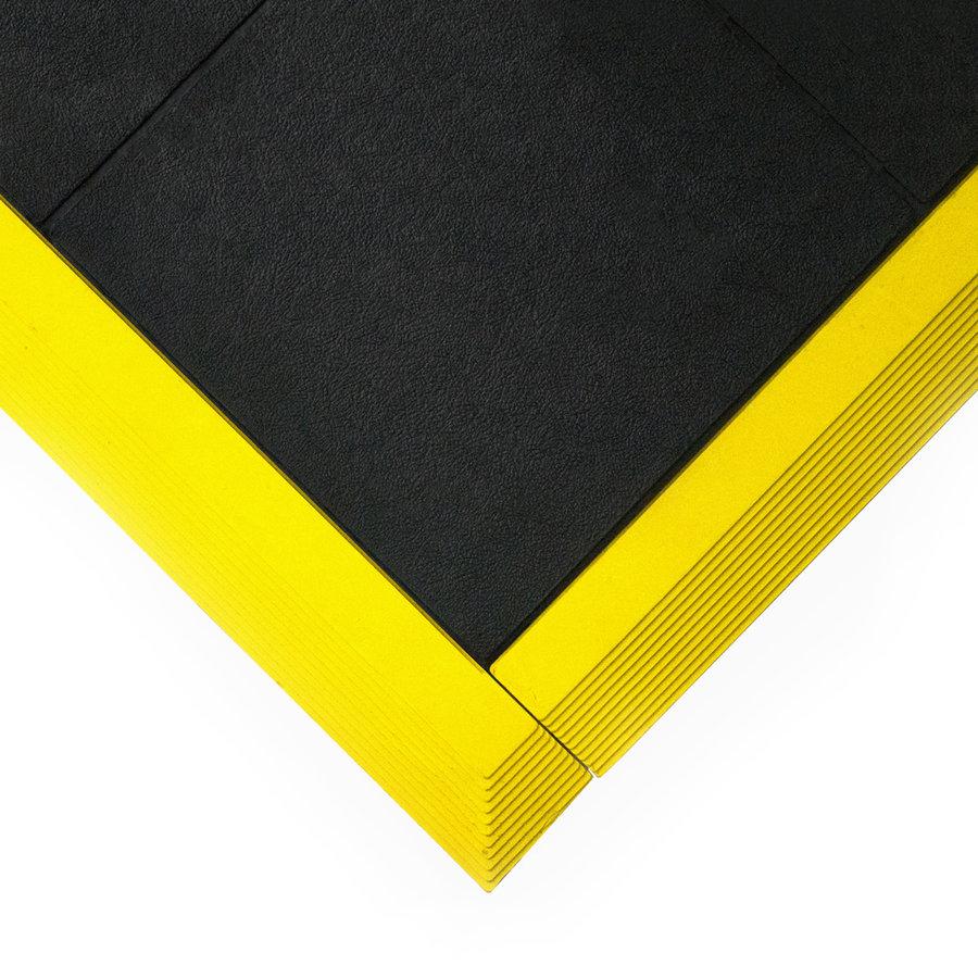 Černá gumová modulární průmyslová protiúnavová protiskluzová rohož Fatigue - délka 90 cm, šířka 90 cm a výška 1,6 cm