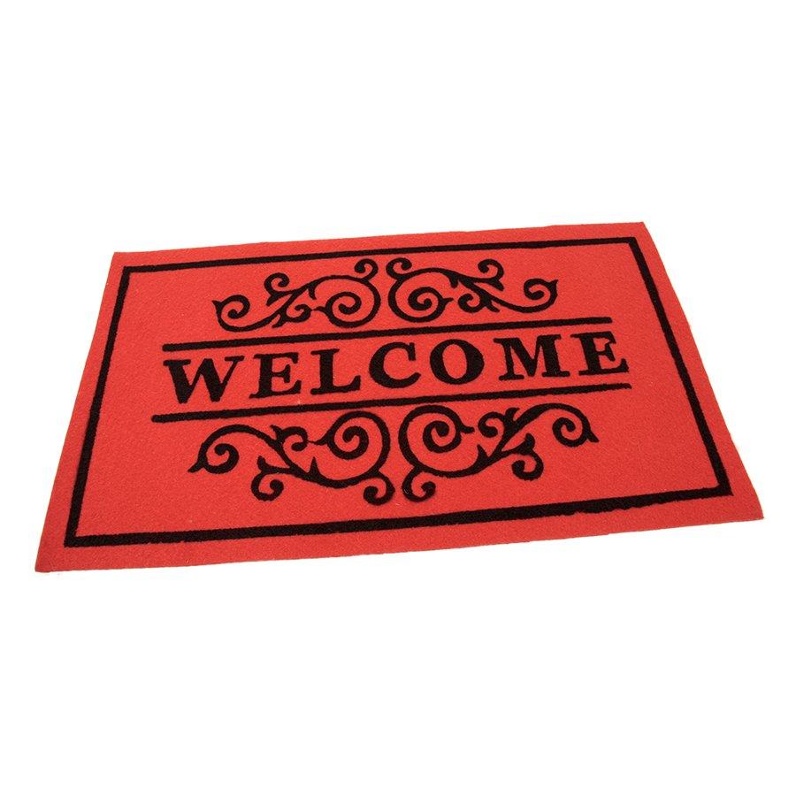 Červená textilní vstupní čistící vnitřní rohož Welcome - Deco, FLOMA - délka 45 cm, šířka 75 cm a výška 0,3 cm