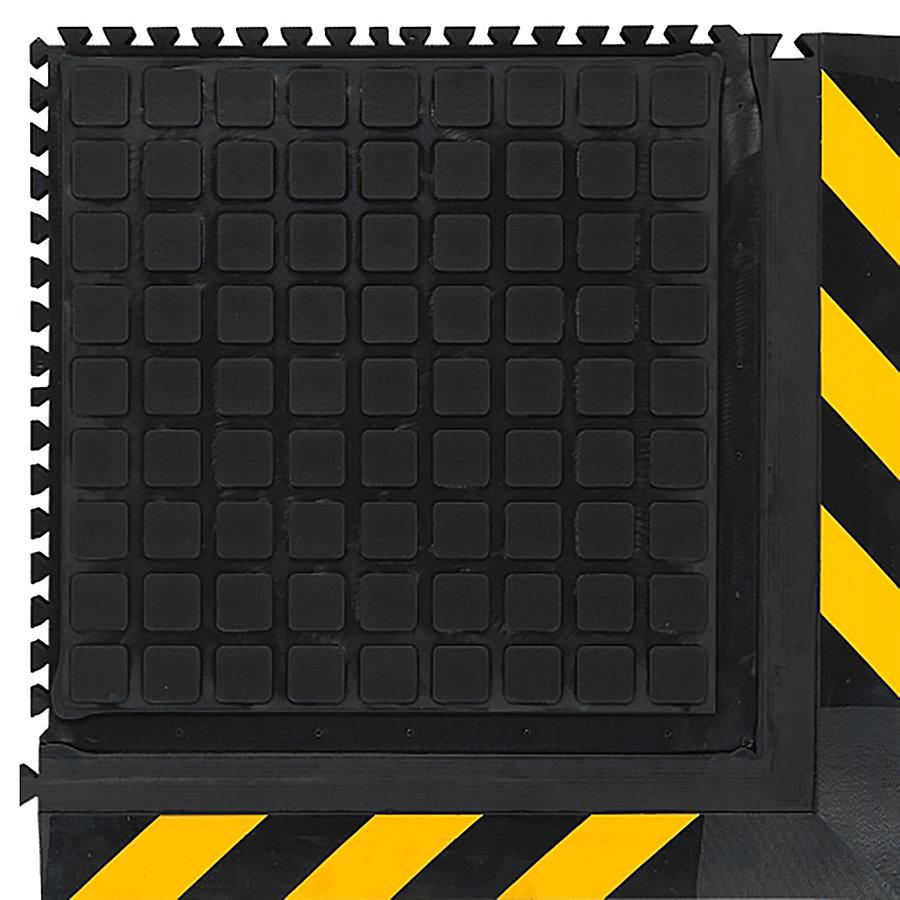 Černo-žlutá podlahová protiúnavová protiskluzová modulová rohož (roh) - délka 55 cm, šířka 55 cm a výška 2 cm