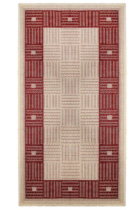 Červený kusový koberec Sisalo - délka 140 cm a šířka 80 cm