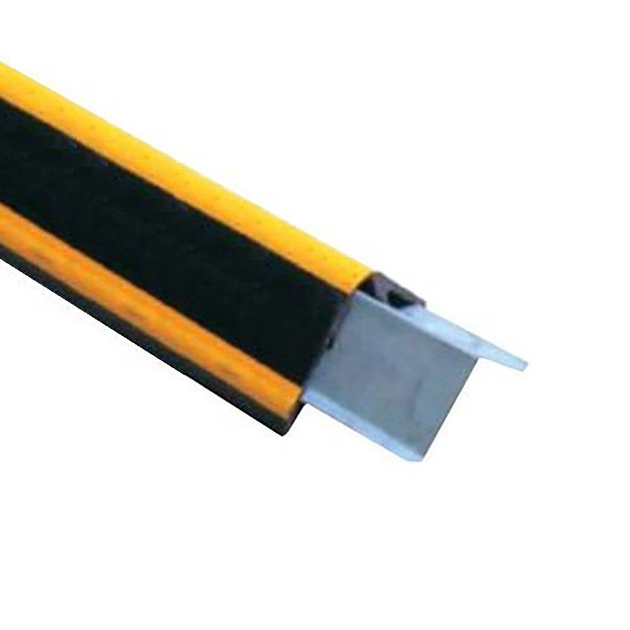 Černo-žlutý gumový roh s výztuhou na ochranu stěn - délka 100 cm, šířka 10 cm a tloušťka 1 cm