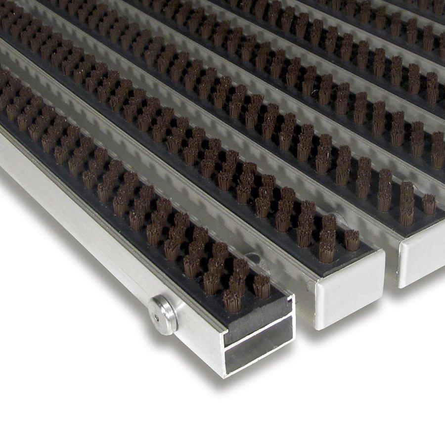 Hnědá hliníková vstupní venkovní kartáčová čistící rohož Alu Super, FLOMAT - délka 100 cm, šířka 100 cm a výška 2,2 cm