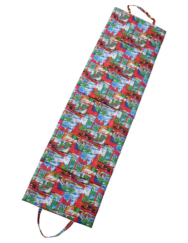 Červené skládací plážové lehátko - délka 180 cm, šířka 50 cm a výška 1,5 cm