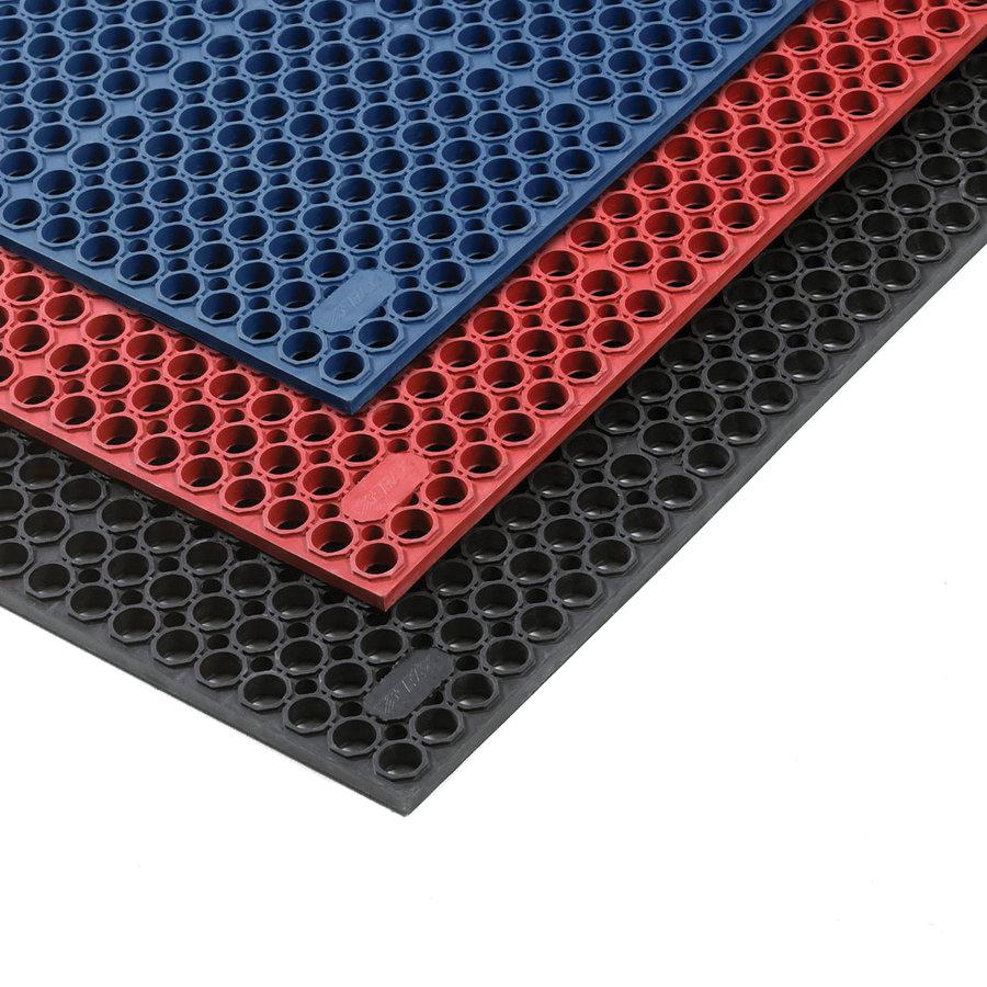 Modrá olejivzdorná protiúnavová průmyslová rohož Sanitness De Lux - délka 152 cm a šířka 91 cm