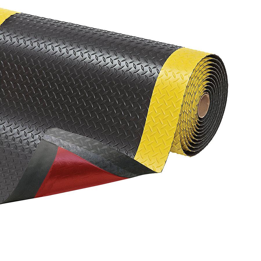 Černo-žlutá protiúnavová průmyslová laminovaná rohož Cushion Trax - délka 22,8 m, šířka 152 cm a výška 1,4 cm
