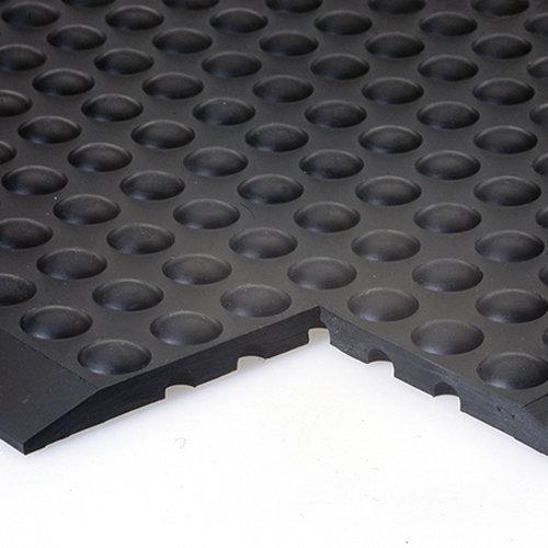 """Černá gumová protiúnavová průmyslová modulární rohož """"středový díl"""" - délka 90 cm, šířka 60 cm a výška 1,4 cm"""
