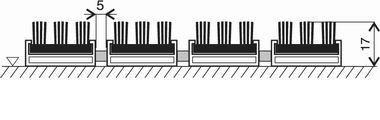 Černá hliníková vstupní venkovní kartáčová rohož Alu Super, FLOMA - délka 100 cm, šířka 100 cm a výška 1,7 cm