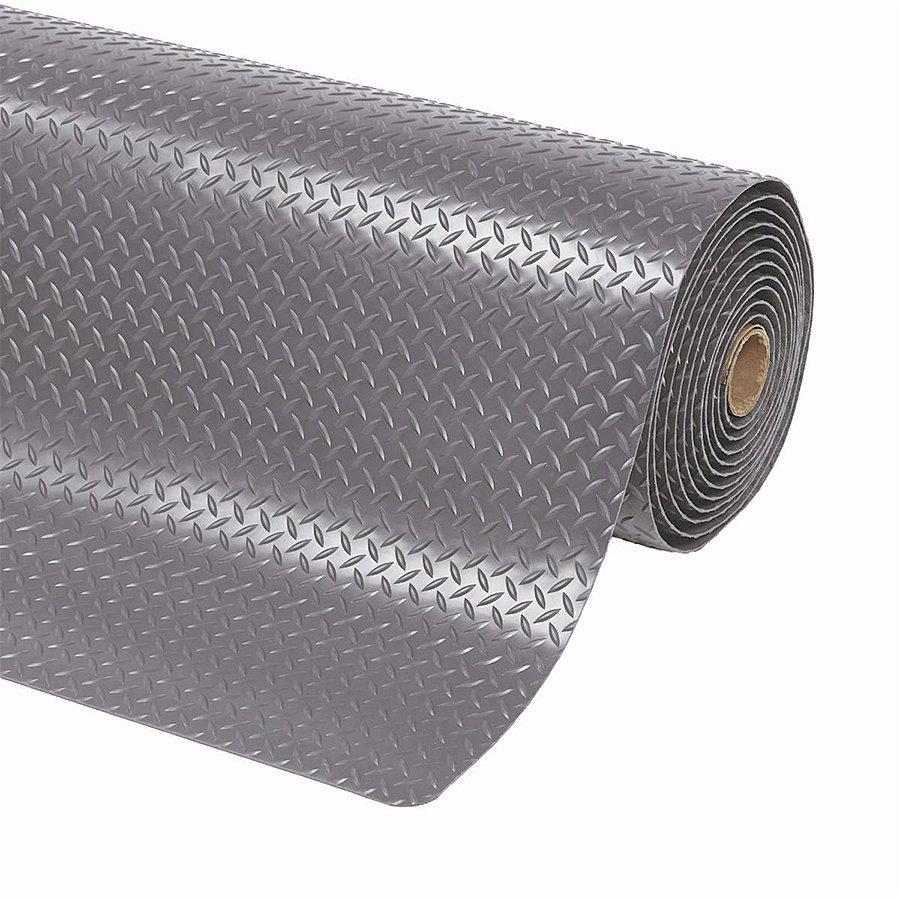 Šedá metrážová protiúnavová průmyslová laminovaná rohož - výška 1,4 cm