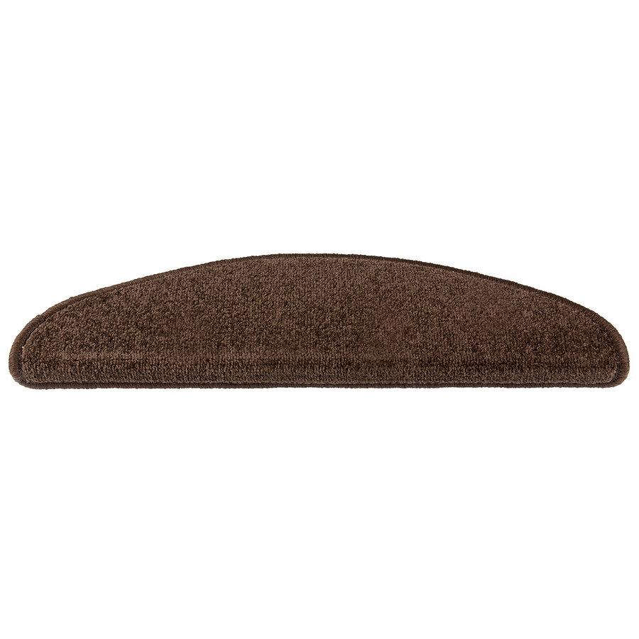 Hnědý kobercový půlkruhový nášlap na schody Eton - délka 24 cm a šířka 65 cm