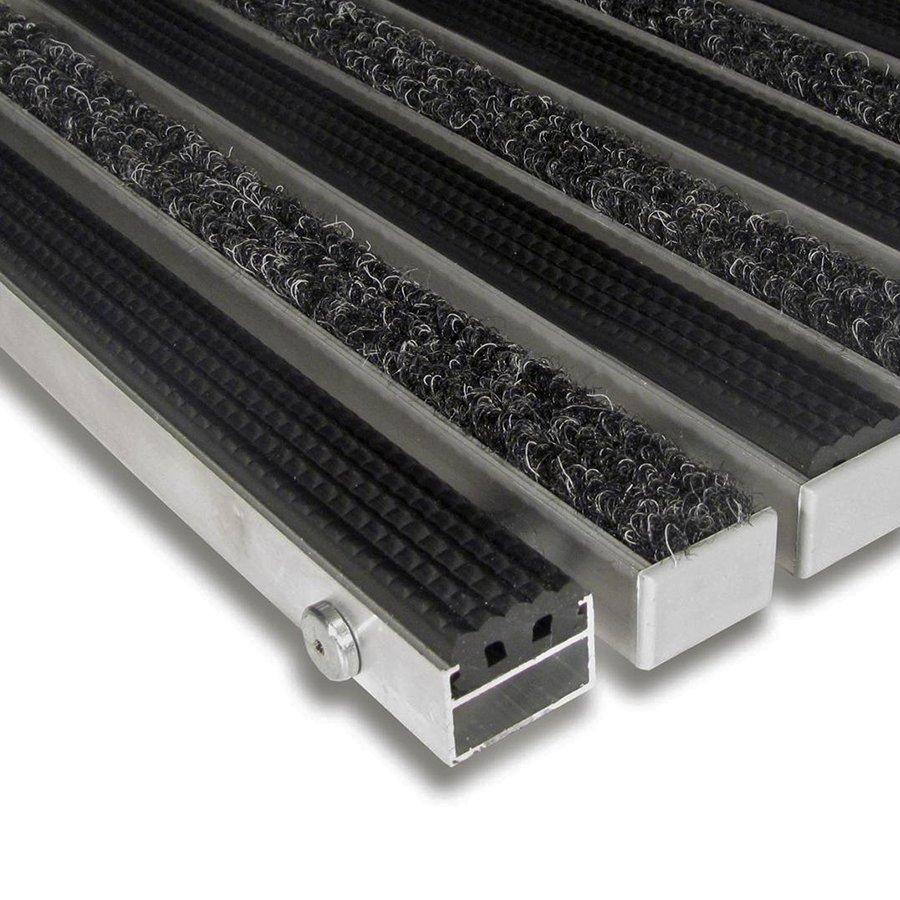 Textilní gumová hliníková vnitřní vstupní rohož Alu Standard, FLOMA (Bfl-S1) - délka 1 cm, šířka 1 cm a výška 2,2 cm