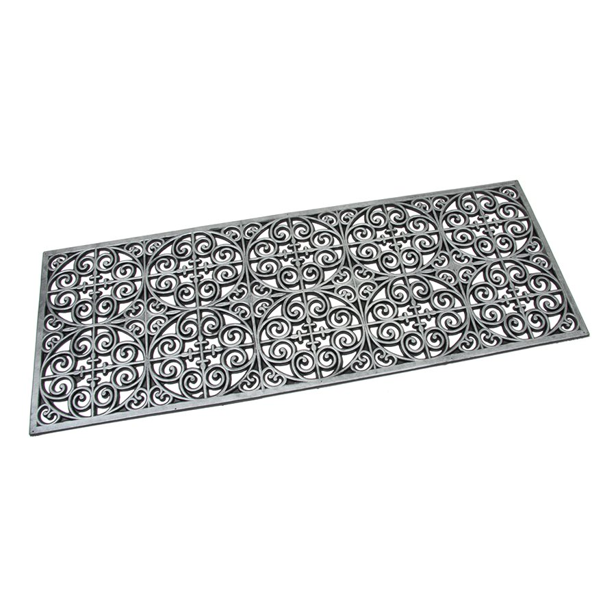 Stříbrná gumová čistící venkovní vstupní rohož Circles - Deco, FLOMAT - délka 120 cm, šířka 45 cm a výška 0,9 cm