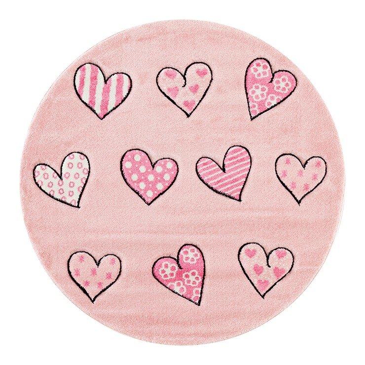 Růžový kusový dětský kulatý koberec Momo - průměr 133 cm