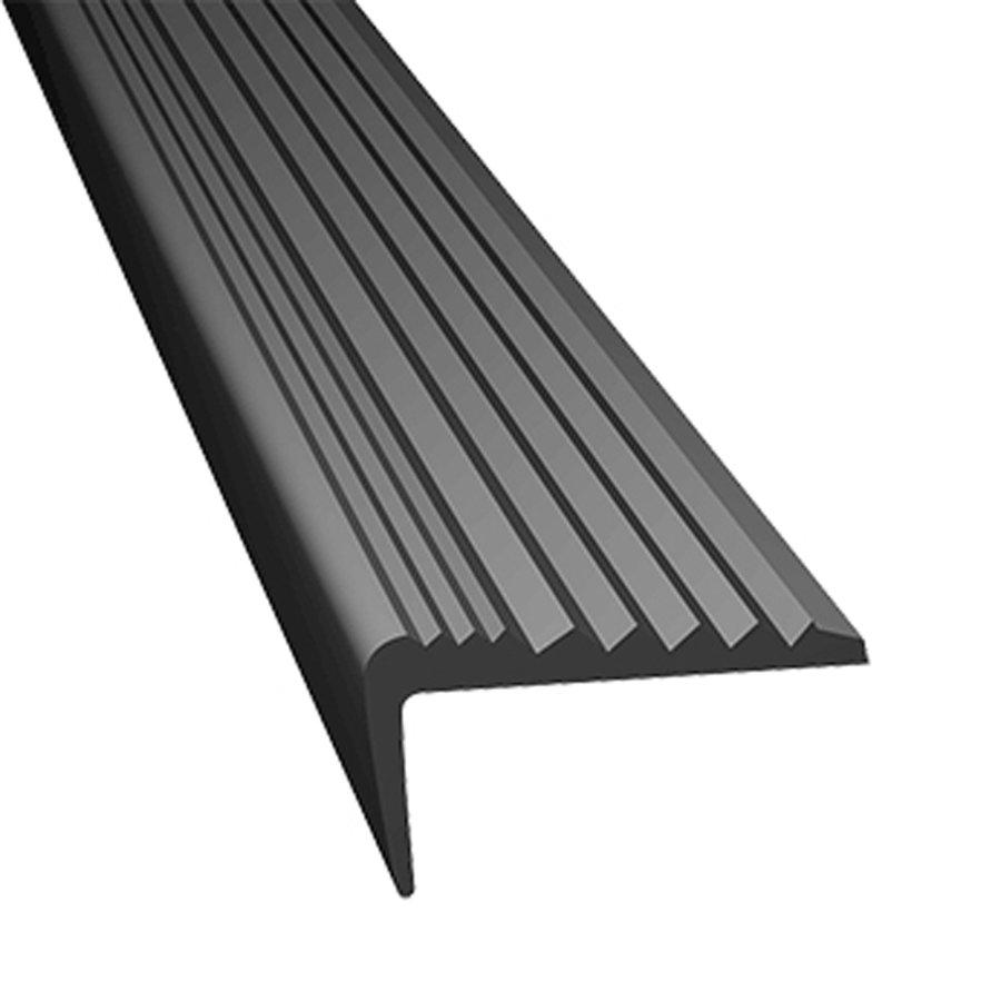 Šedá gumová protiskluzová schodová hrana - délka 5 m, šířka 4,7 cm a výška 2,1 cm