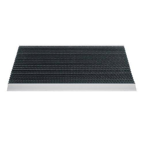 Černá vstupní venkovní kartáčová čistící rohož s hliníkovým nájezdem - délka 48 cm, šířka 79 cm a výška 2,2 cm