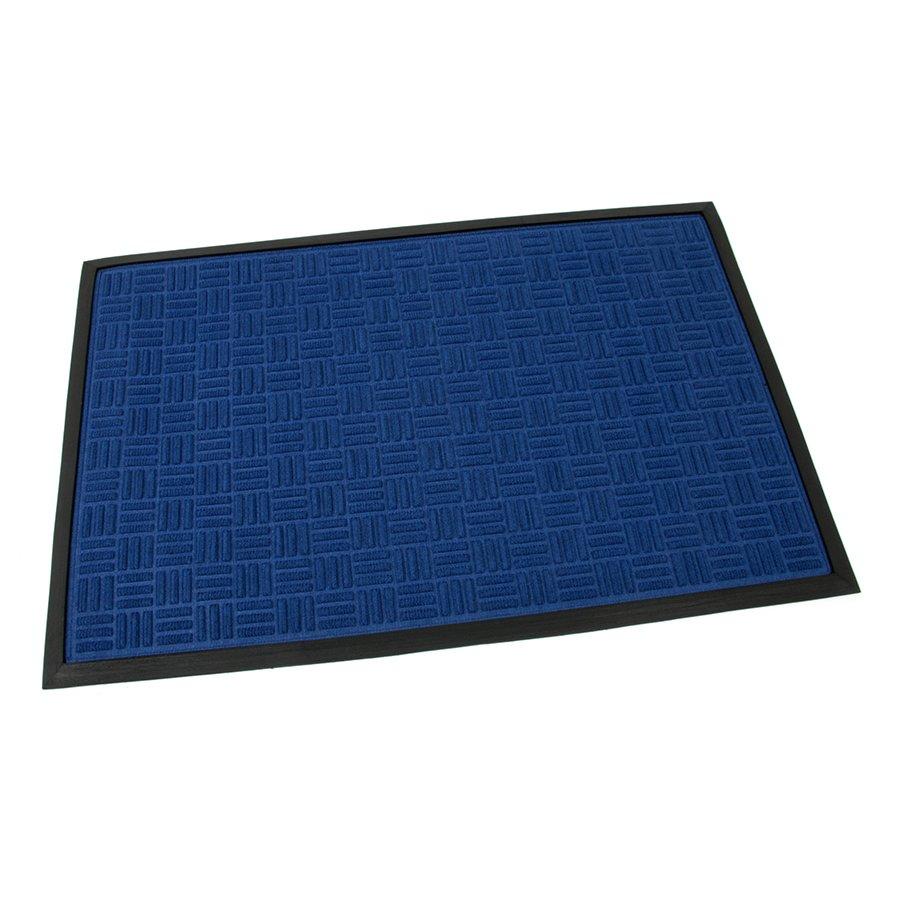 Modrá textilní gumová čistící vstupní rohož Criss Cross, FLOMA - délka 60 cm, šířka 90 cm a výška 0,8 cm