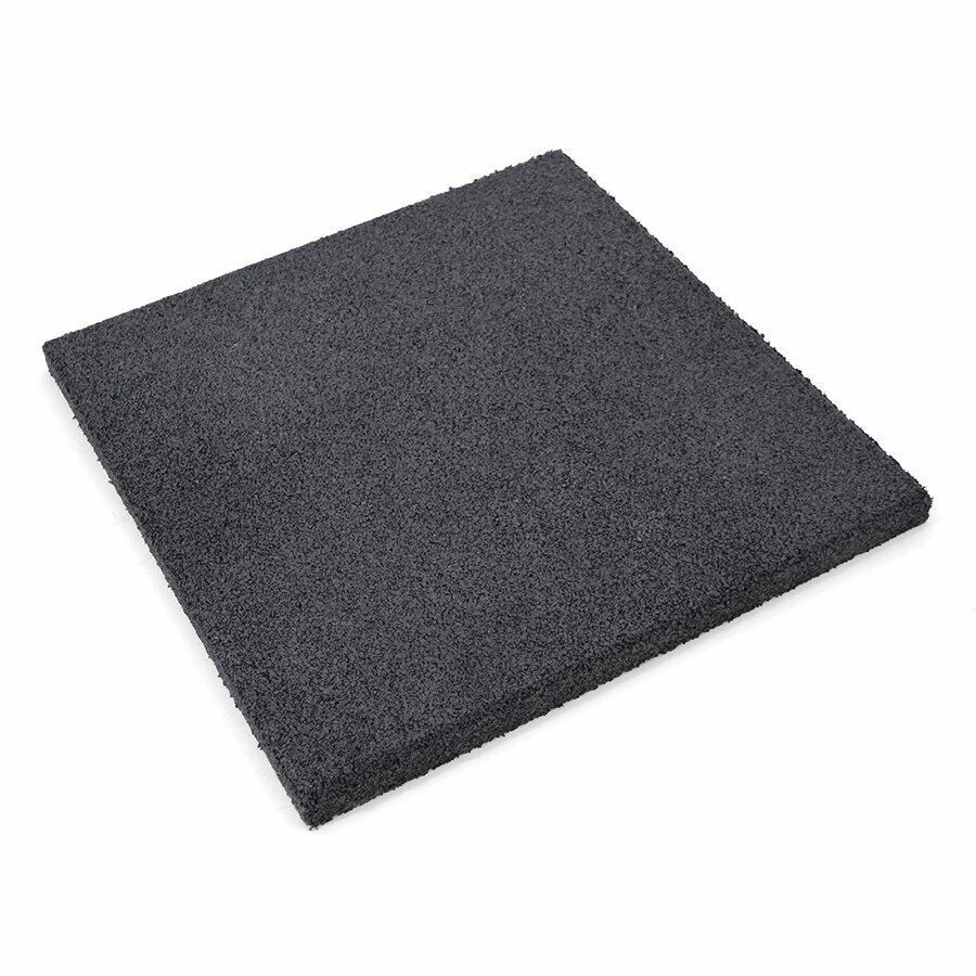 Černá gumová hladká dlažba (V30/R00) FLOMA - 50 x 50 x 3 cm